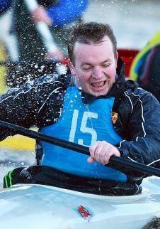 Mr Mowbray getting wet.