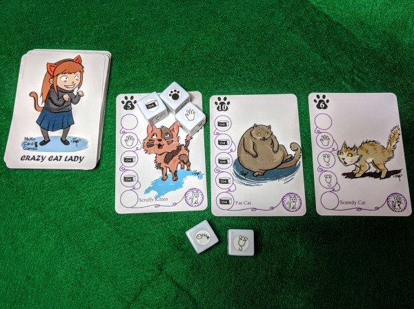 Crazy Cat Lady card and dice examples