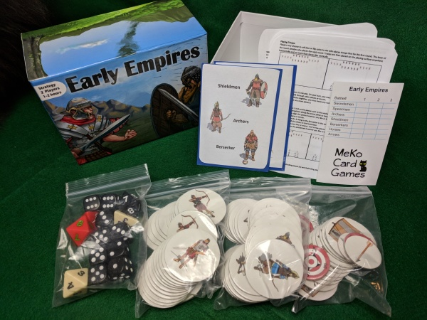 Early Empires box and contents - rules, battle card, play tiles, dice