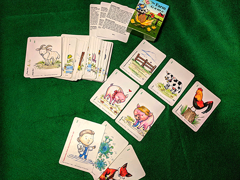 The Farm Game box, rules, and cards