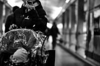 Adam Summerscales,photography,photographer,disabled,disability,vulnerable,street photography, perspective, train station, Sheffield, overwhelm, people, person, street, platform, phone, baby, pram,