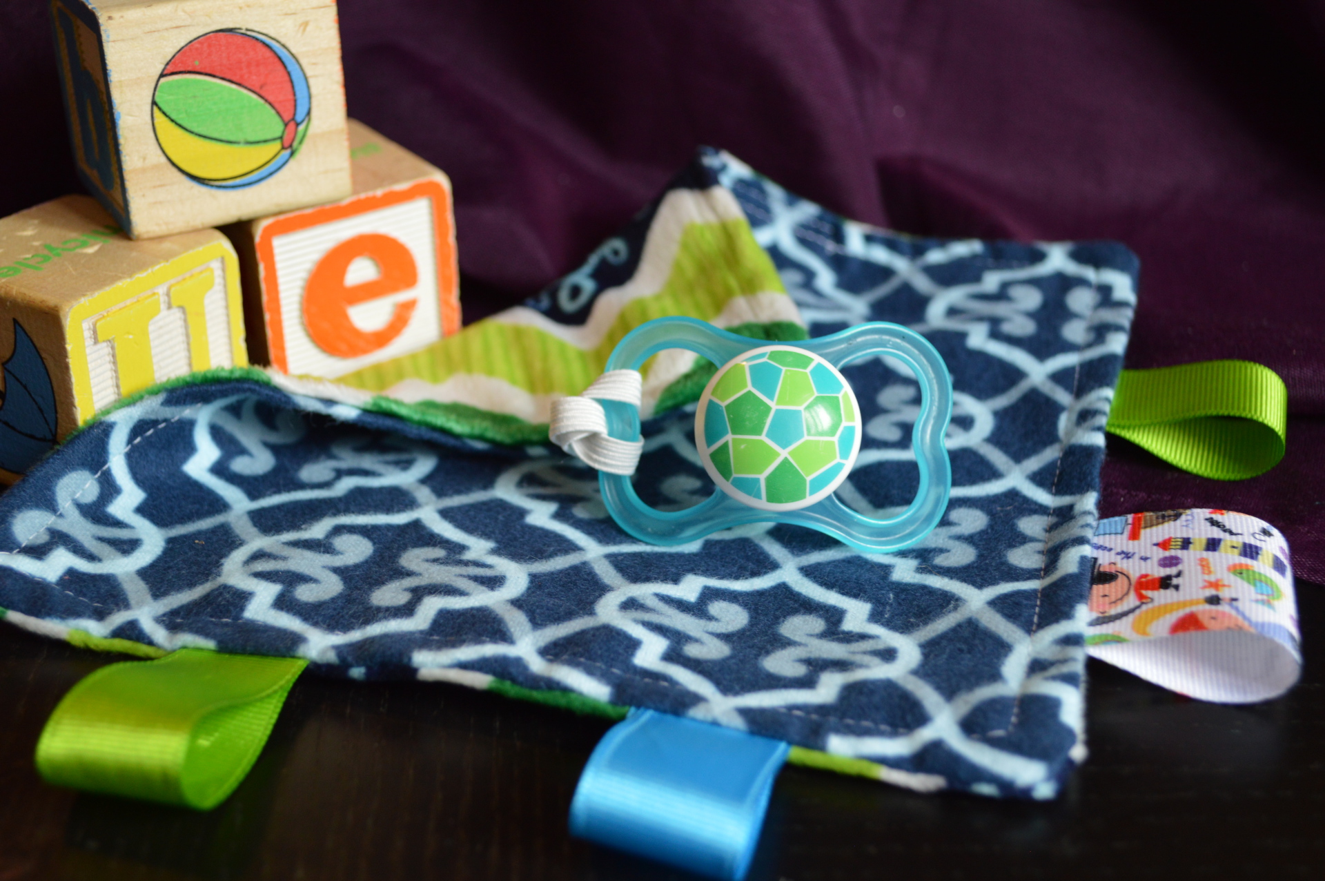 Blue & Green Paci Taggie
