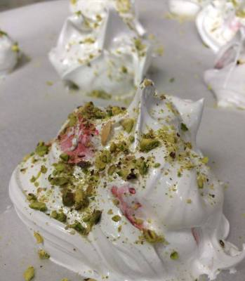 Pre-oven Pistachio and Rose Water Meringues