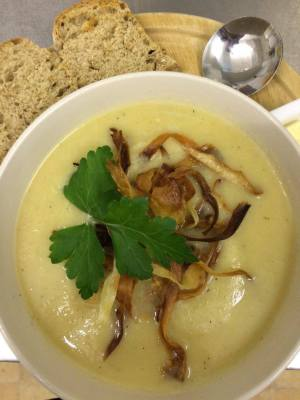 Homemade Parsnip Soup, topped with Parsnip Crisps
