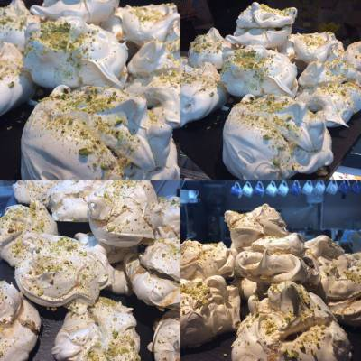 Pistachio and Rose Water Meringues