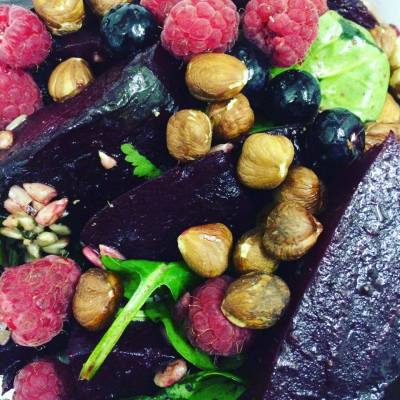 Beetroot, Blueberry and Hazelnut salad, finished with a Truffle Oil