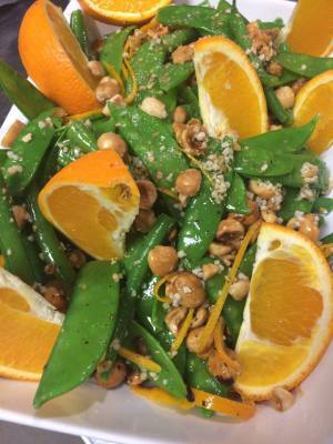 Orange, Black Pepper, Mangetout and Green Bean salad