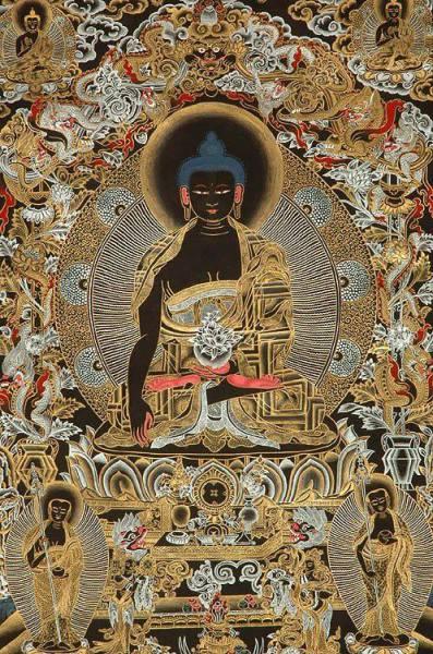 Shakyamuni Buddha with his two Chief Disciples Shariputra and Maudgalyayana