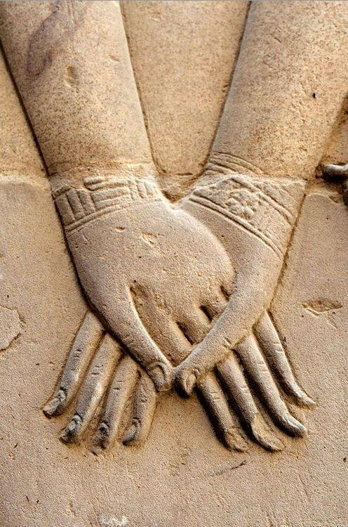 Queen Goddess  Hathor Holding Queen Nefertari's Hand.