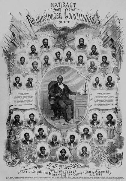 Poster with text from depicting African American leaders in Louisiana during Reconstruction.