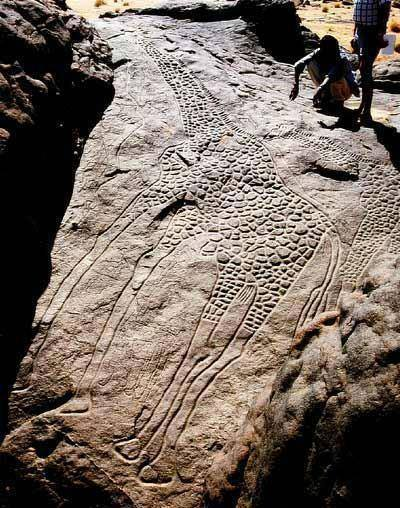 9,000 Year-old Rock Carving Giraffe found in Africa........