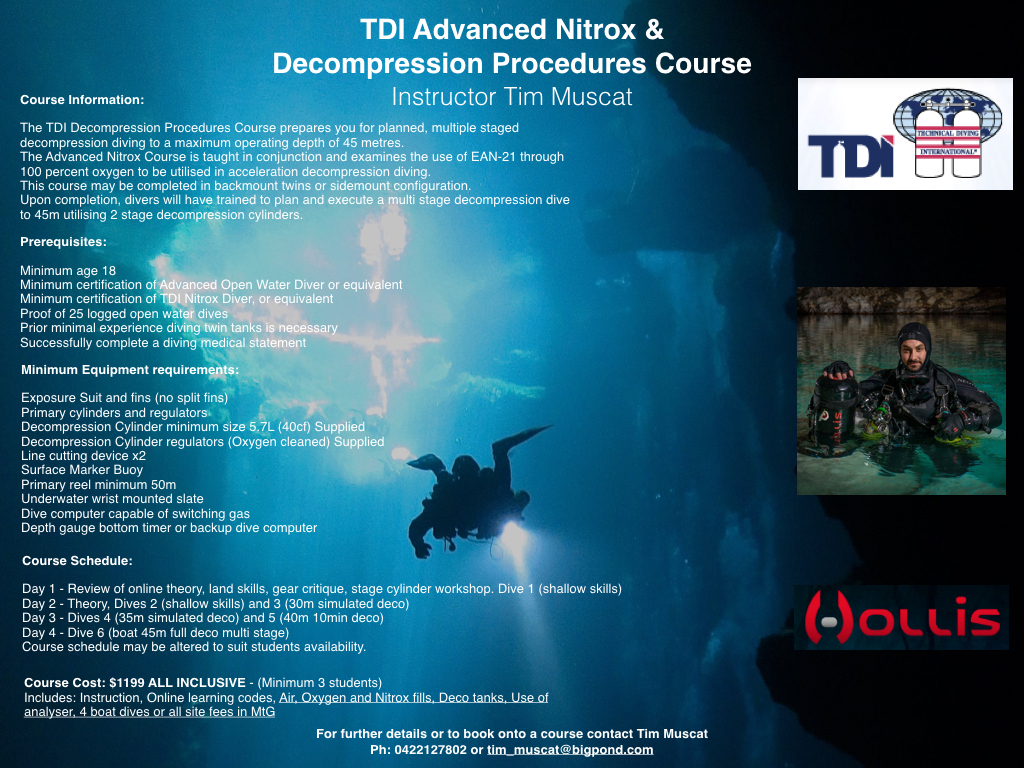 TDI Advanced Nitrox and Decompression Procedures OCT 1st, 2nd 8th, 9th