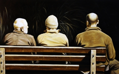 Three wise men, oil on linen by Mehrdad Tahan