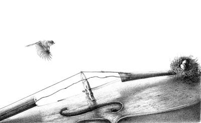 Flying home, Pen&ink by Mehrdad Tahan