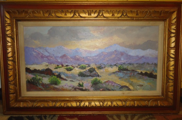 T C Hinson Oil on Canvas Desert Scene