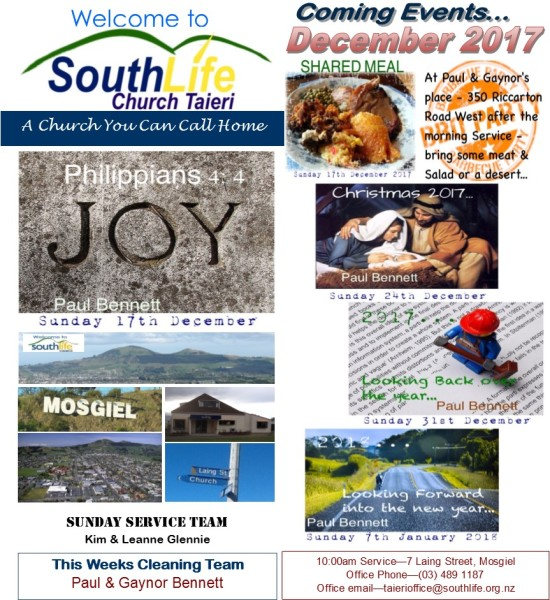 Sunday 17th December 2017 - Weekly Hand Out
