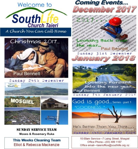Sunday 24th December 2017 - Weekly Hand Out