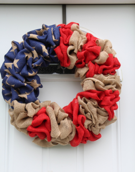 Memorial Day / American Flag Burlap Wreath