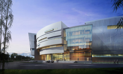 Side view of Shanghai Electric World Headquarters East Entry - Torus shaped building