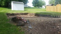 pool, demolition, deck,