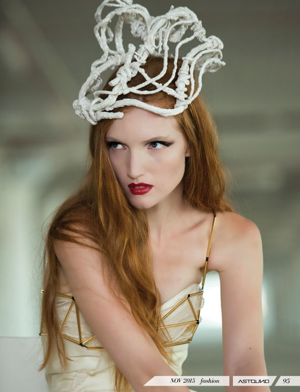 New York Hat Designer Millinery Fascinator Design Fashion Leather Felt Wire Couture Headwear Headpieces handmade NYC Art Astound Magazine Photography by Lisa Ramsay  Headpieces by Penny Chu www.chuchuny.com Model Powell Karen Stylist Angelina Scantlebury  Makeup Amanda Thesen