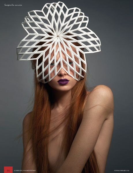 New York Hat Designer Millinery Fascinator Design Fashion Leather Felt wire Couture Headwear Headpieces handmade NYC Art wedding Chuchuny pennychuchu  paperheadpiece paperfolding geometry architecture papermanipulation sculpture paperhats hat architectural Headpiece