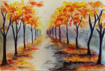 A water colour painting of the path ...