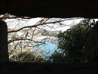 Looking out through the sniper openings in the sandstone trenches overlooking Camp Cove.