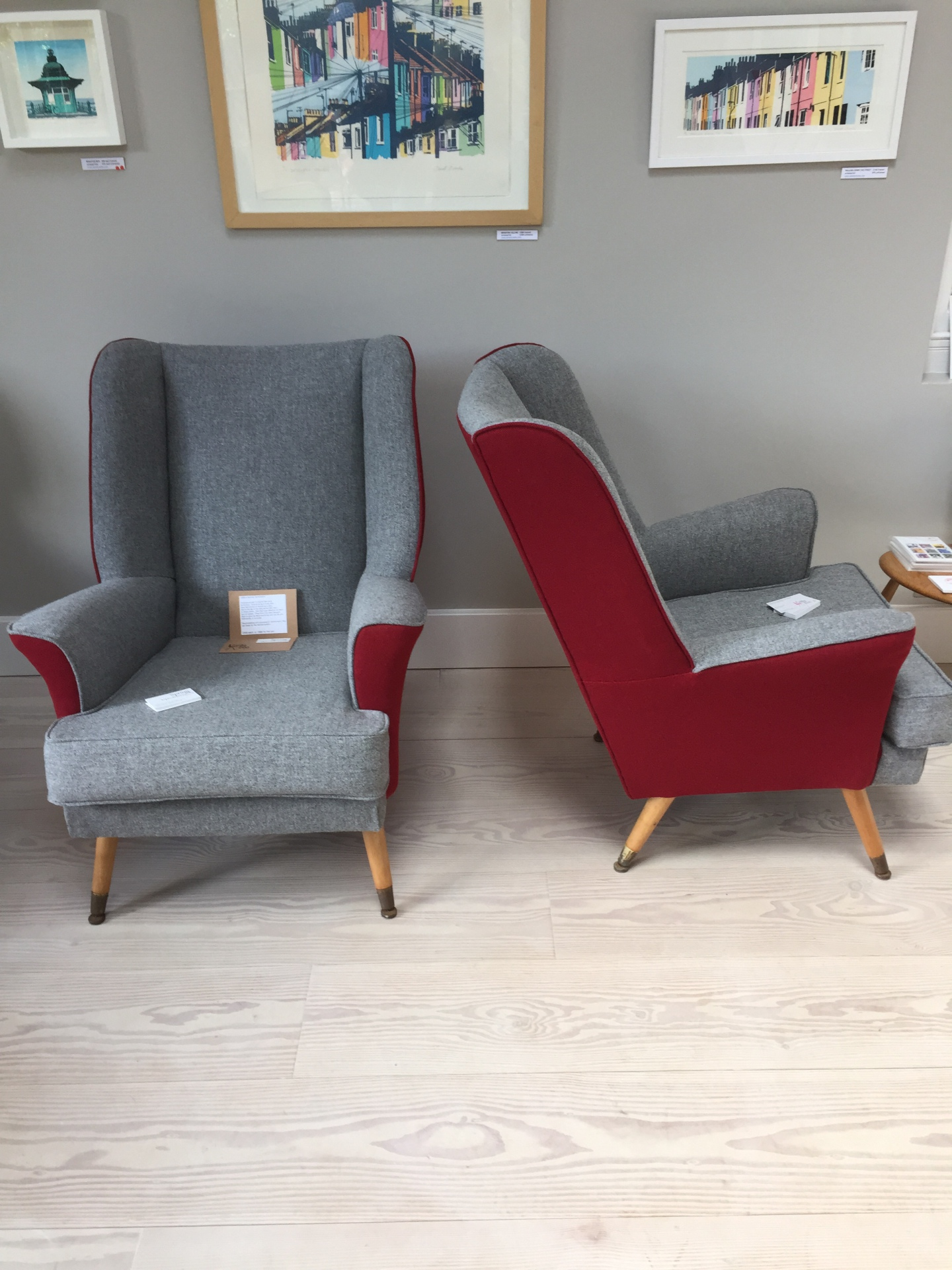 A pair of 60s Atomic wing chairs