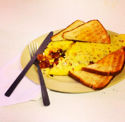 """Potato, Meat, and Cheese Omelet"""