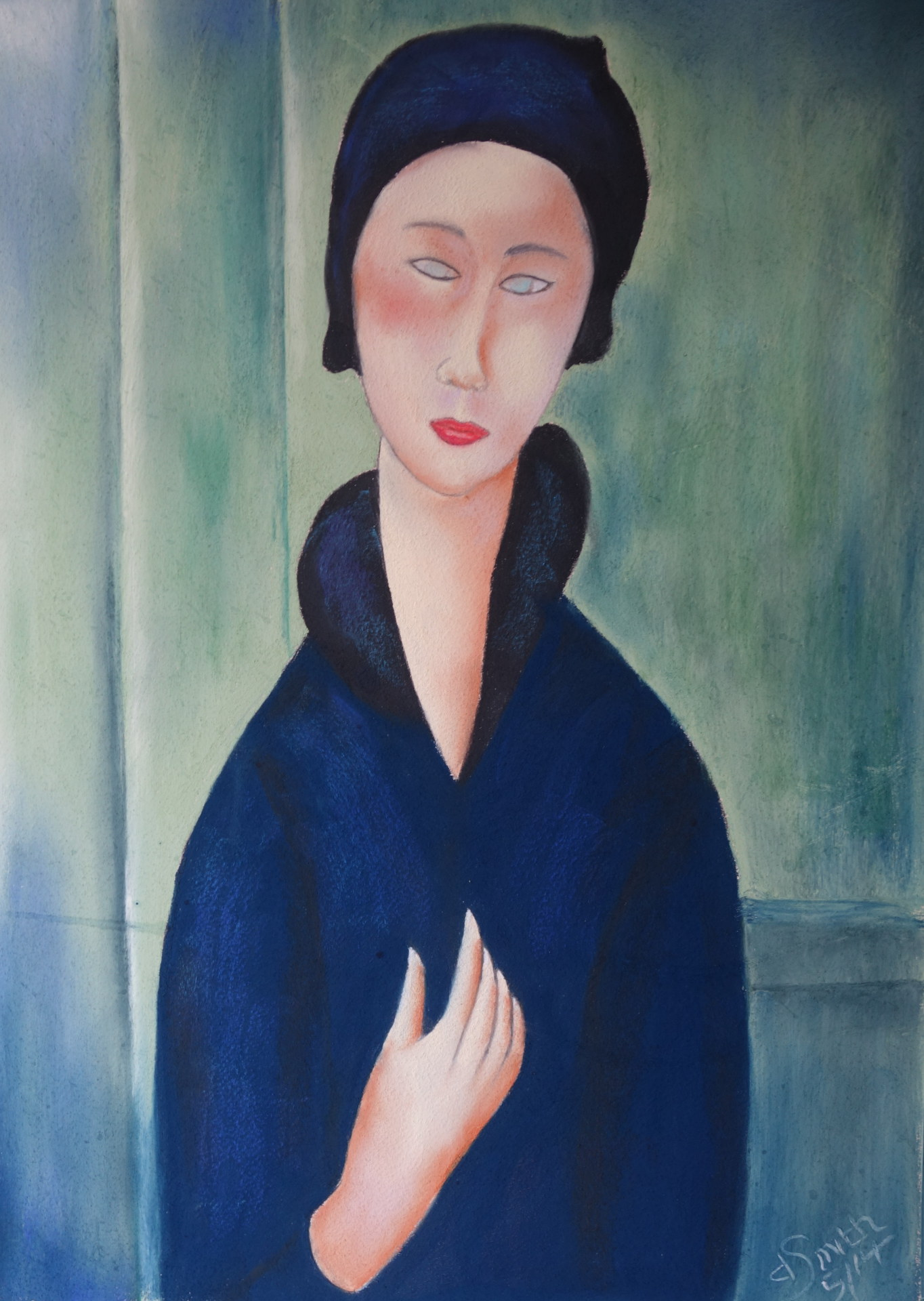 "After Modigliani  ""Lady with blue eyes"" pastel 40x56 cms"