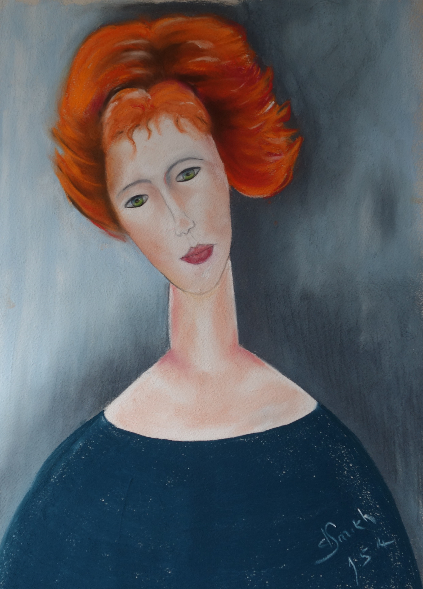 "After Modigliani ""Lady with red hair""  pastel 40x56 cms"