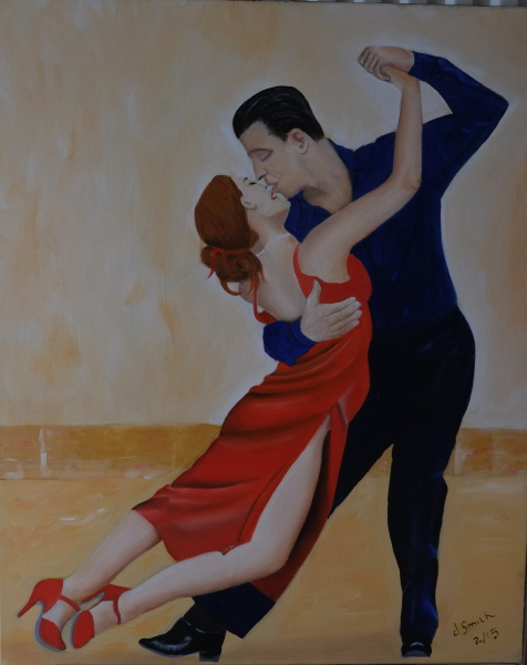 """Tango dancers"" oil on canvas 60x73 cms"