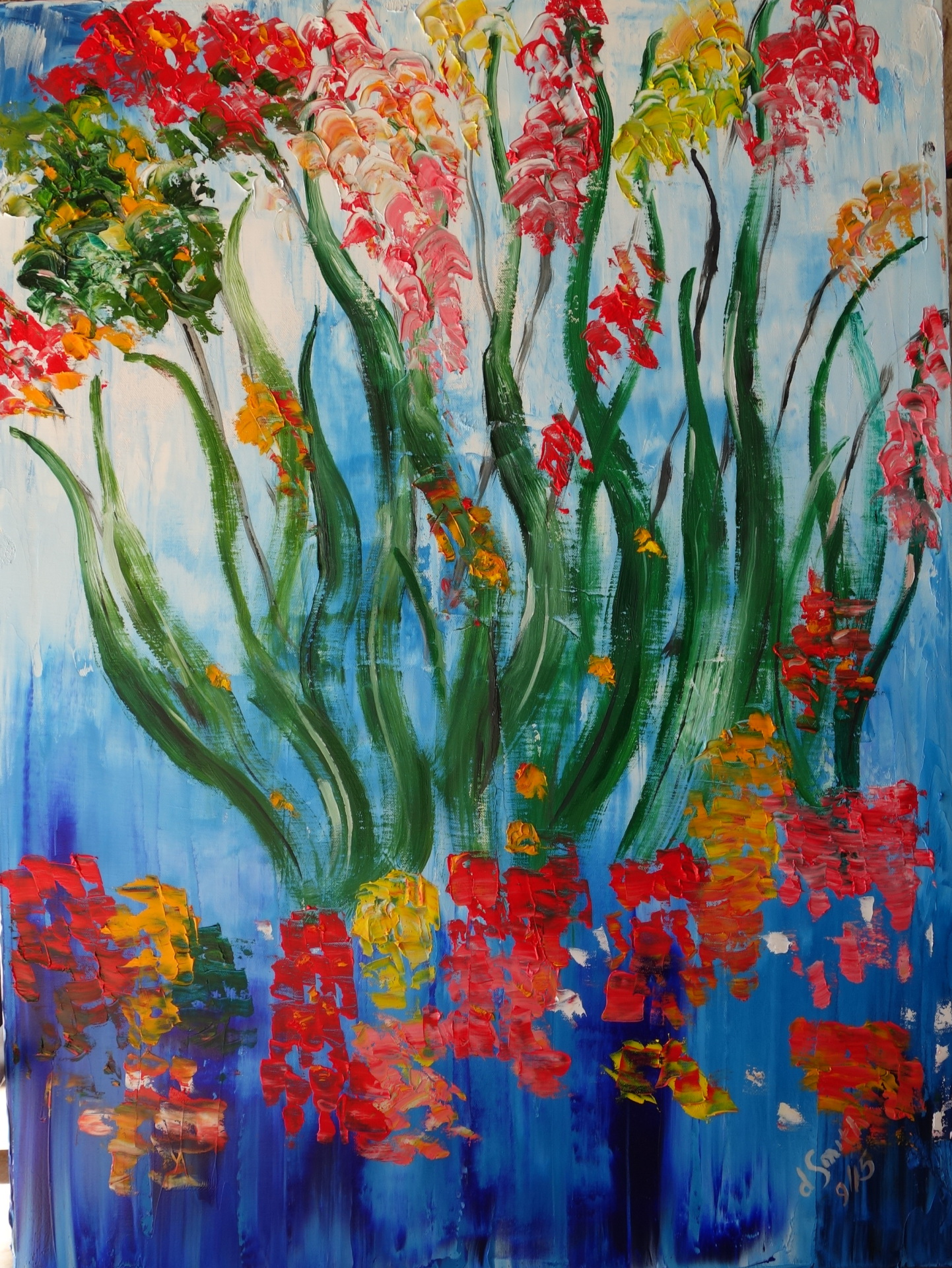 """Flowers in water""  oil on canvas  60x80"