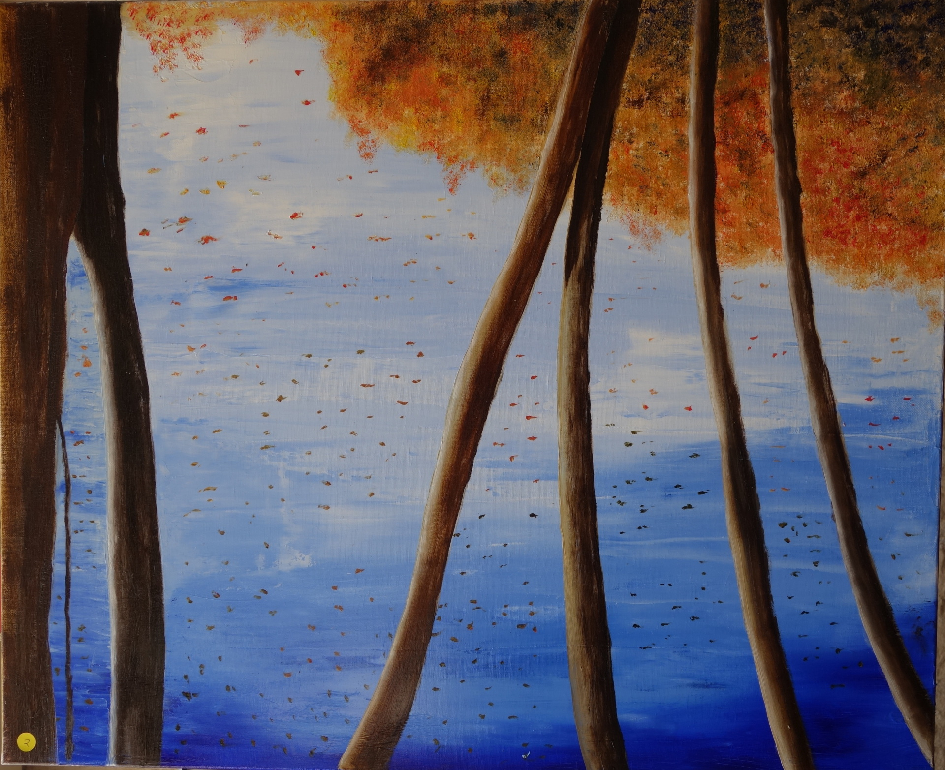 """Trees in water"" oil on canvas 59x72 cms"