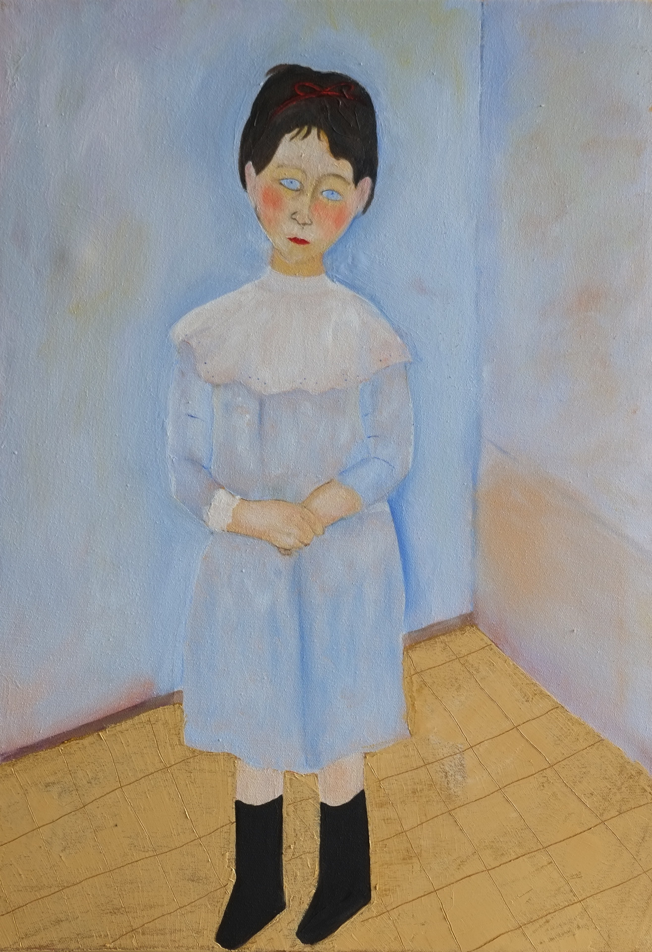 Girl in the kitchen, after Modigliani, oil on canvas