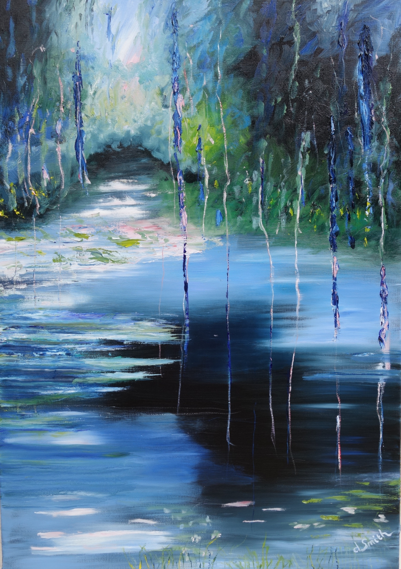 Reflections in blue, oil on canvas