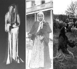 (l) La LLorona by James Conroy, (c) Chola Martina Burruel, (r) Dona Polonia Montanez