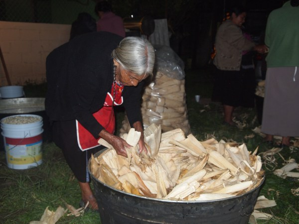 Tamales de bola; Tamales filled with marinated pork meat.