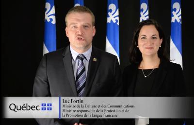 Message de M. Luc Fortin et de Mme Marie Montpetit