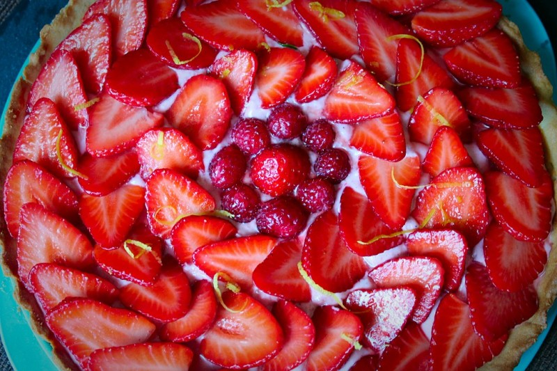 tarte aux fraises framboise