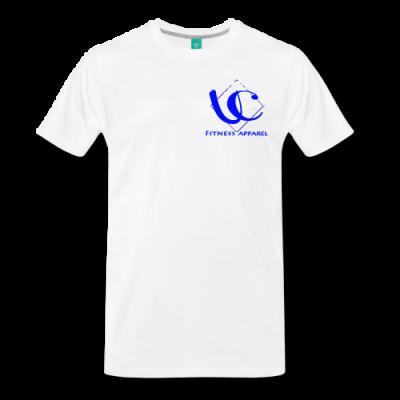 UC FITNESS LOGO, WHITE STARS LOWER BACK - Men's Premium T-Shirt