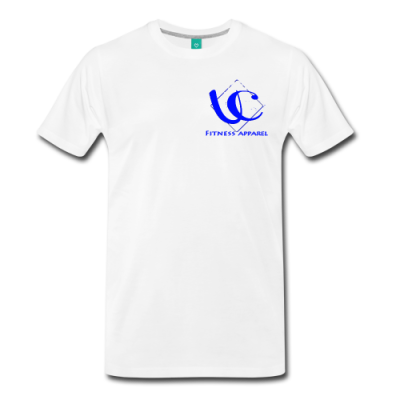 UC FITNESS LOGO, WHITE STARS LOWER BACK - Men's Premium T-Shirt