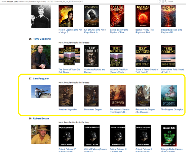 Sam Ferguson a Top 100 Fantasy Author