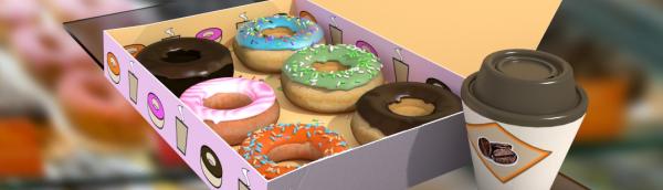 food, donuts, coffee,
