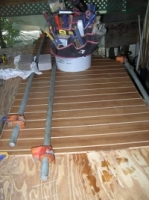 Making a Teak/Holly entrance way floor.