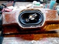 Custom fabrication of a ski boat inlay speaker boxes