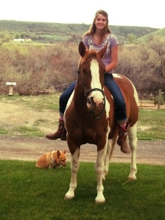Our daughter Paige on her horse with Eagle Canyon in background