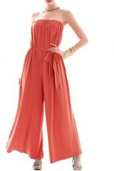 Sexy Strapless Sleeveless Solid Color Wide Leg Jumpsuit