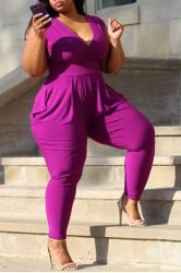 Sexy Plunging Neck Solid Color Sleeveless Plus Size Jumpsuit